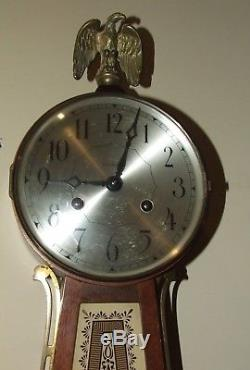 Vintage Working SETH THOMAS Mahogany Mid Century Banjo Wall Clock Windup Movt