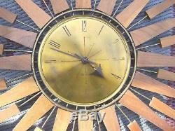 Vintageseth Thomasmid Century Modernwall Clocksunburststarflowerstarburst