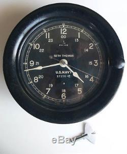 Vtg 24 hour SETH THOMAS bakelite U. S. NAVY boat SHIPS CLOCK #573786-E working NR