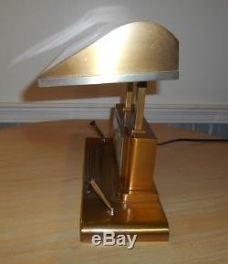 Vtg Art Deco SILVERCREST BRONZE Desk Table Lamp SETH THOMAS CLOCK Pen Holders