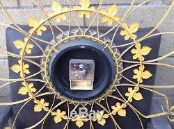 Vtg Mid Century Seth Thomas Yellow Sunburst Starburst Wrought Iron Wall Clock