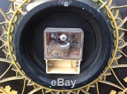 Vtg Mid Century Seth Thomas Yellow Sunburst Starburst Wrought Iron Wall Clock
