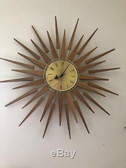 Vtg Teak Seth Thomas Wall Clock Mid Century Modern Starburst StarFlower E631-001