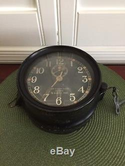 WW II US Navy Mark 1 Deck Clock 6 in Bakelite Case 1942 Seth Thomas