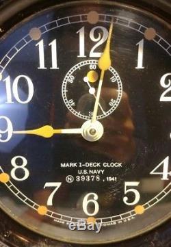 WW II US Navy Mark 1 I Deck Clock 6 in Bakelite Case 1941 Seth Thomas Mounted