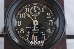 WW2 Seth Thomas Mark I US Navy 1941 Boat Clock with Bulkhead Mount & Key Bakelite