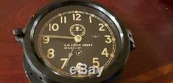WWII Chelsea US COAST GUARD Black Brass 6 dial ships clock w Key