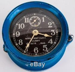 WWII USN MARK-I Seth Thomas 1942 Original United States Blue Navy Ship Clock