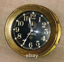 Ww1 Brass Seth Thomas #2 U. S. Navy deck clock Works Great Rare