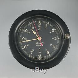 Wwii 1942 Vintage Seth Thomas Us Navy Military Ships Clock Runs Good